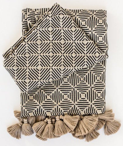 Sahara Throw Natural/Navy