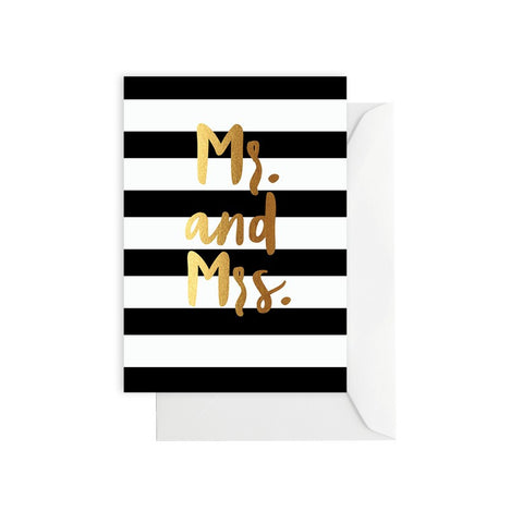 Mr + Mrs Gold/Black Stripe Card
