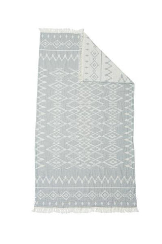 Knotty Oteki Kilim Maxi Throw Grey