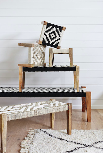 Charpoy Large Bench - Black/Ivory Weave