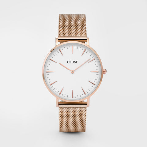 La Bohème Mesh Rose Gold/White Watch