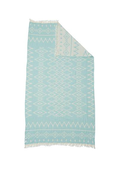 Knotty Oteki Kilim Standard Turkish Towel Mint