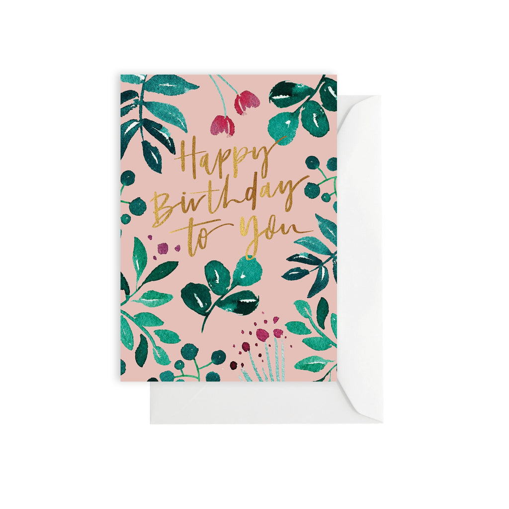 Greenery Birthday Peach Card