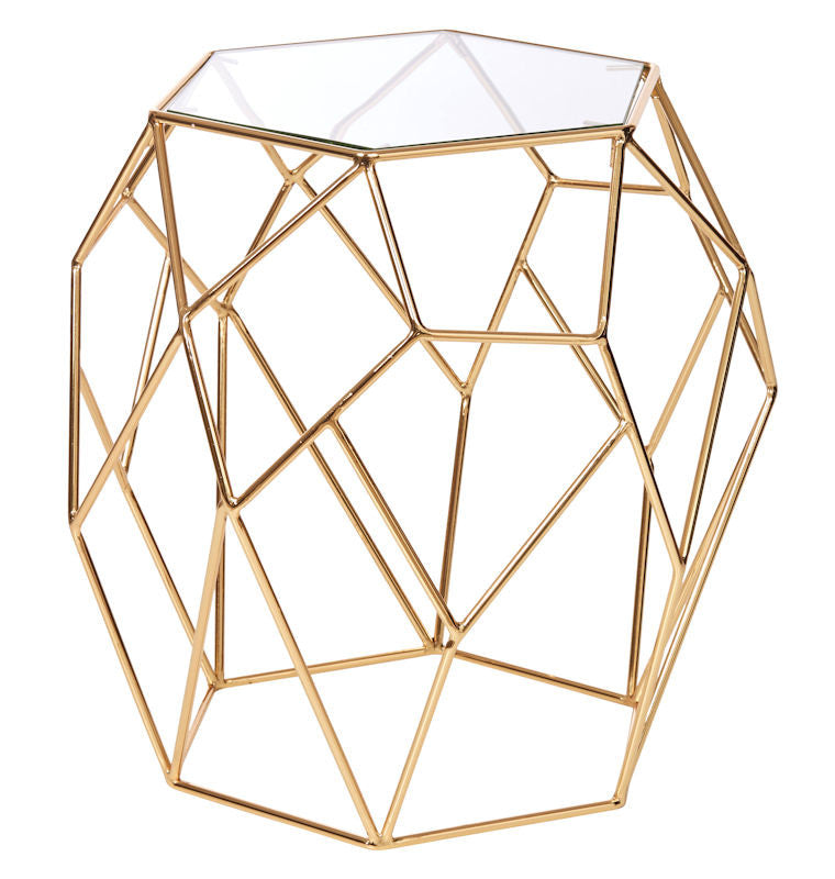 Gold Hexagon Side Table
