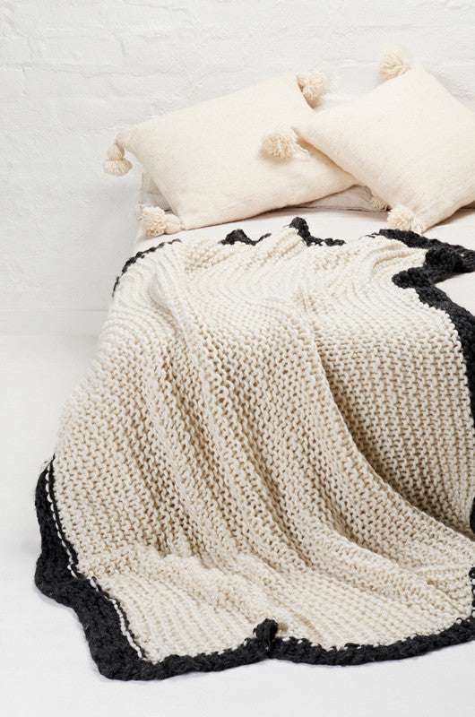 Rama Knitted Throw With Charcoal Border