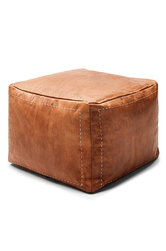 Moroccan Leather Tan Pouffe