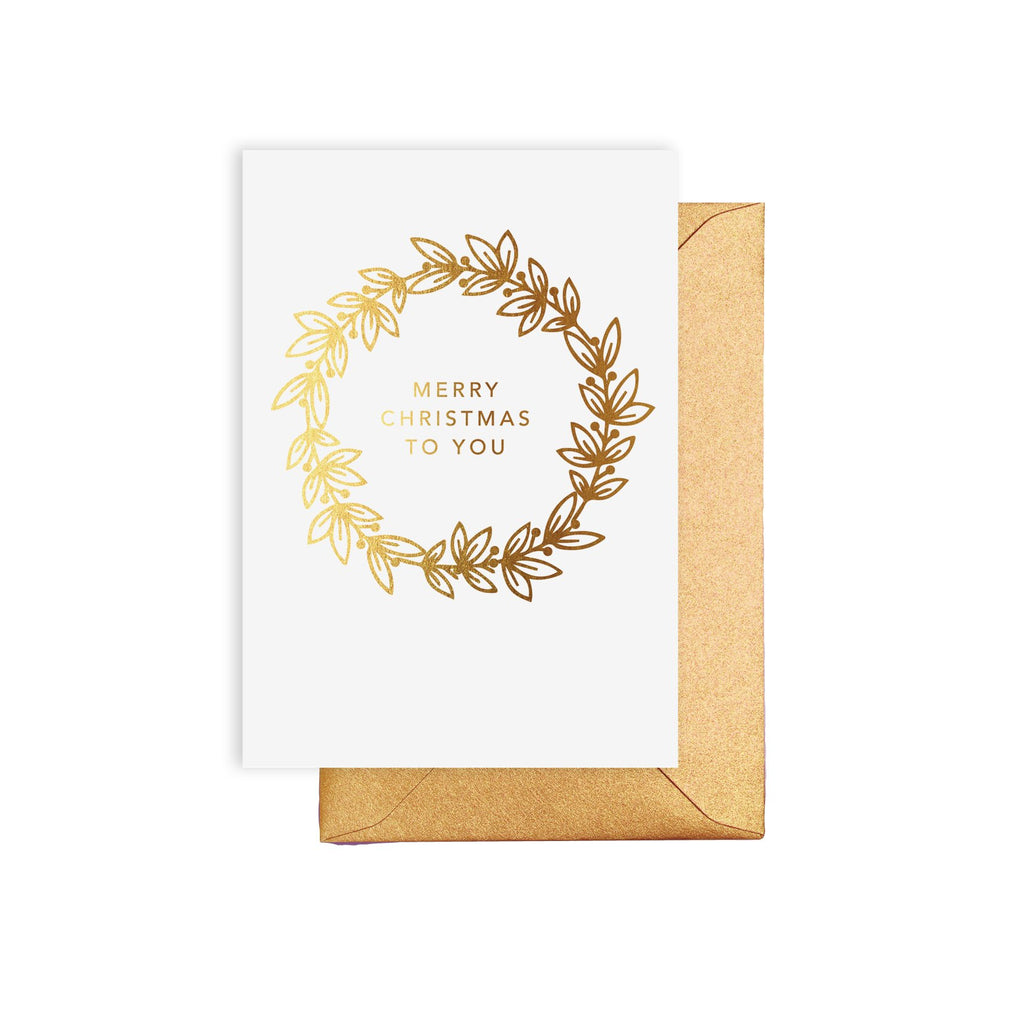 Merry Christmas Gold Wreath Card
