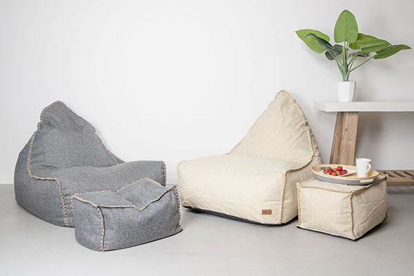 Vintage Bean Bag Chair and Ottoman Set