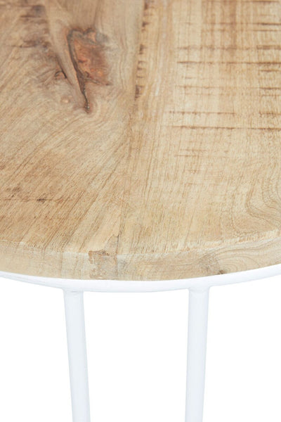 Flinders Slat Round Side Table - White