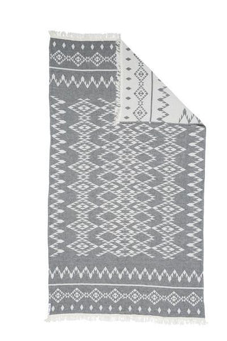Knotty Oteki Kilim Maxi Throw Charcoal