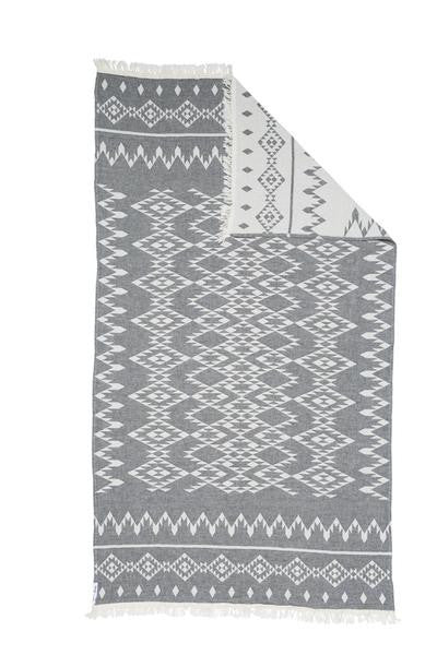 Knotty Oteki Kilim Standard Turkish Towel Charcoal