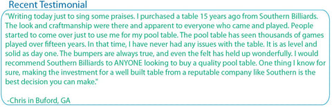 pool table testimonial in Comer