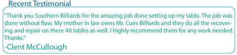 Pool Table Recent Testimonial