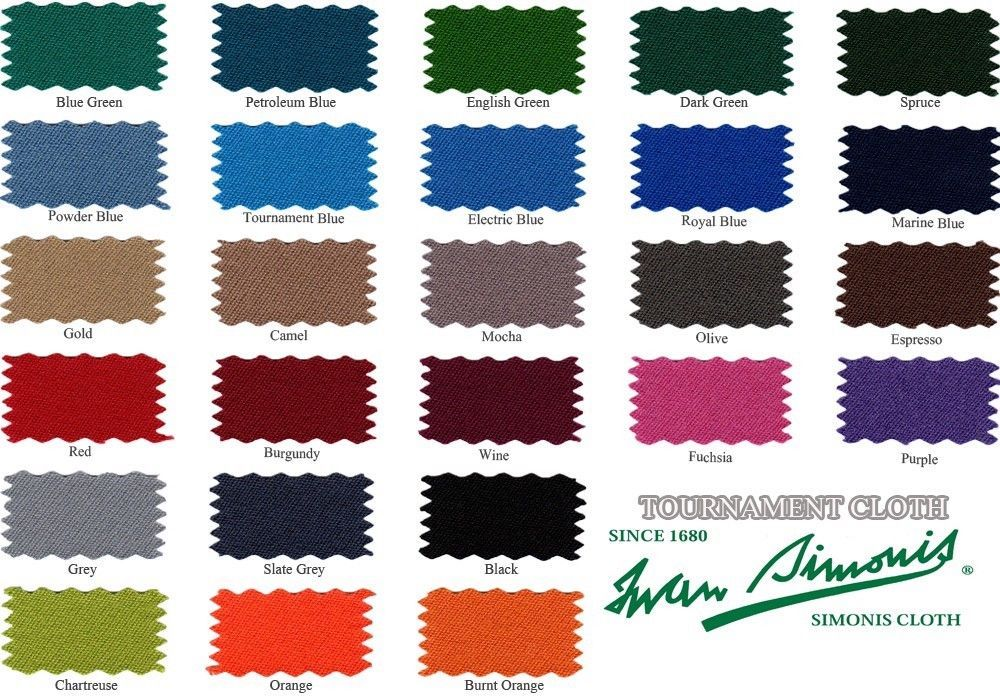 Simonis 760/860 Cloth Color Chart