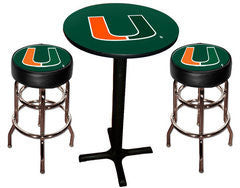Miami Hurricanes Varsity Pub Table & Bar Stool Set