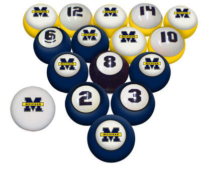 Michigan Wolverines Premium Pool Ball Set