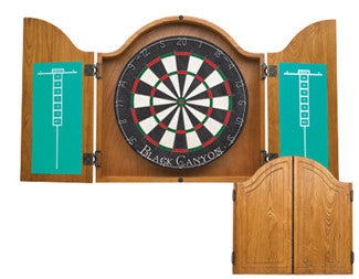 Arched Oak Dart Board Cabinet