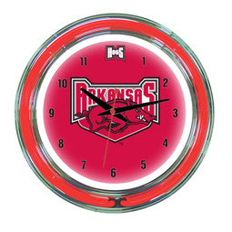 "Arkansas Razorbacks 14"" Neon Clock"