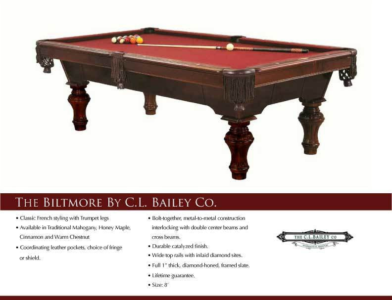 C.L. Bailey Biltmore Pool Table