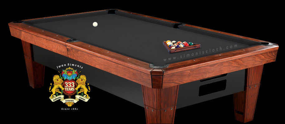 7' Simonis 860 Pool Table Cloth - Black