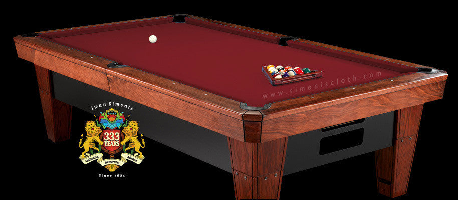 8' Simonis 860 Pool Table Cloth - Burgundy