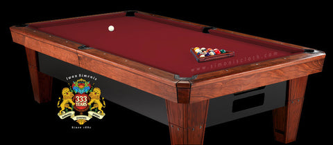 9' Simonis 860 Pool Table Cloth - Burgundy