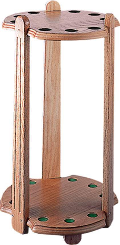 9 Cue Deluxe Oak Floor Rack - coolpooltables.com