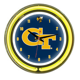 "Georgia Tech Yellow Jackets 14"" Neon Clock"