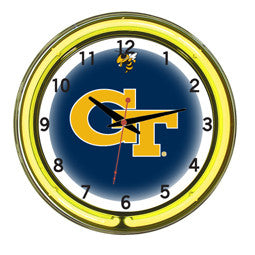 "Georgia Tech Yellow Jackets 18"" Neon Clock"