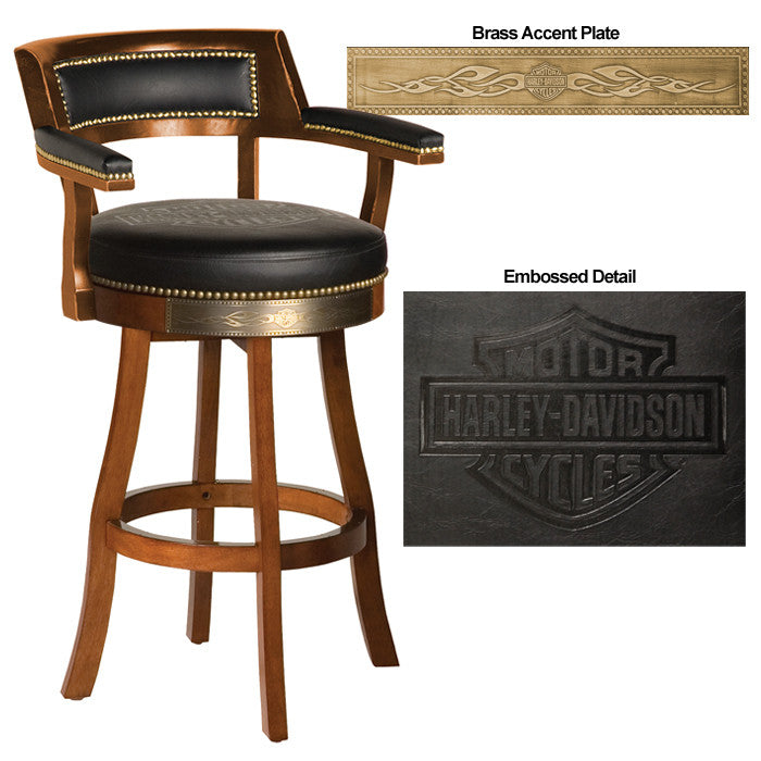 Harley-Davidson¨ Bar & Shield Flames Barstool w/ Backrest - Heritage Brown Finish