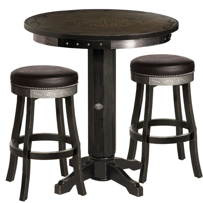Harley-Davidson¨ Bar & Shield Flames Pub Table & Stool Set - Vintage Black