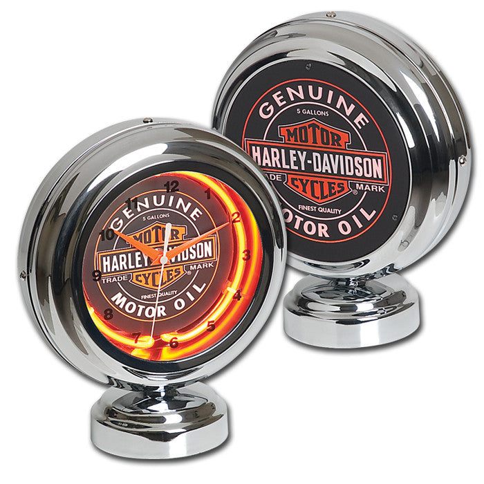 Harley-Davidson¨ Oil Can Table Neon Clock
