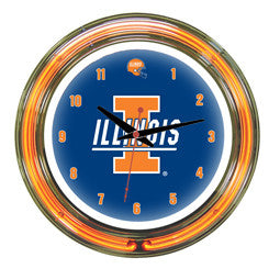 "Illinois Fighting Illini 14"" Neon Clock"