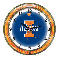 "Illinois Fighting Illini 18"" Neon Clock"