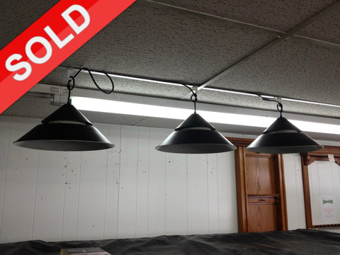 "15"" Used Black Pendant Pool Table Lights"