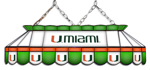 Miami Hurricanes Stained Glass Pool Table Light