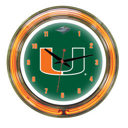 "Miami Hurricanes 14"" Neon Clock"