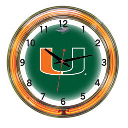 "Miami Hurricanes 18"" Neon Clock"