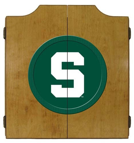 Michigan State Spartans Logo Dartboard Cabinet
