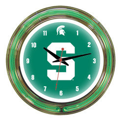 "Michigan State Spartans 14"" Neon Clock"