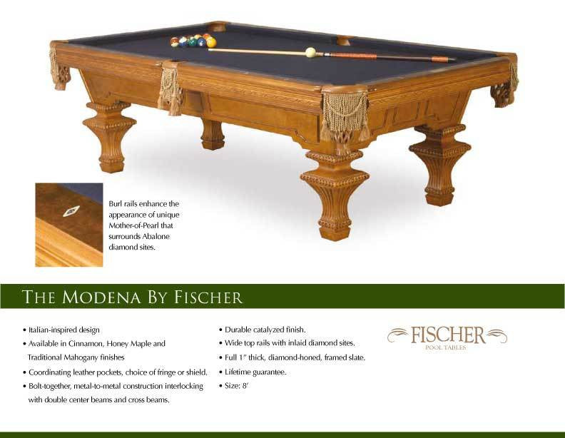 Fischer Modena Pool Table Coolpooltablescom - How wide is a pool table