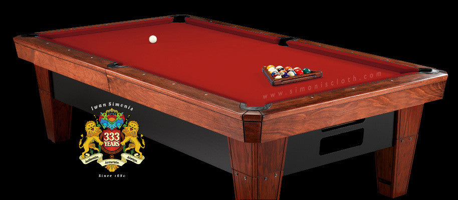 9' Simonis 860 Pool Table Cloth - Red