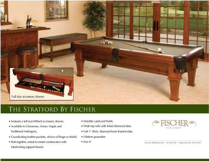 Fischer Stratford Pool Table Coolpooltablescom - How wide is a pool table