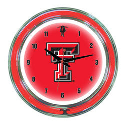 "Texas Tech Red Raiders 14"" Neon Clock"
