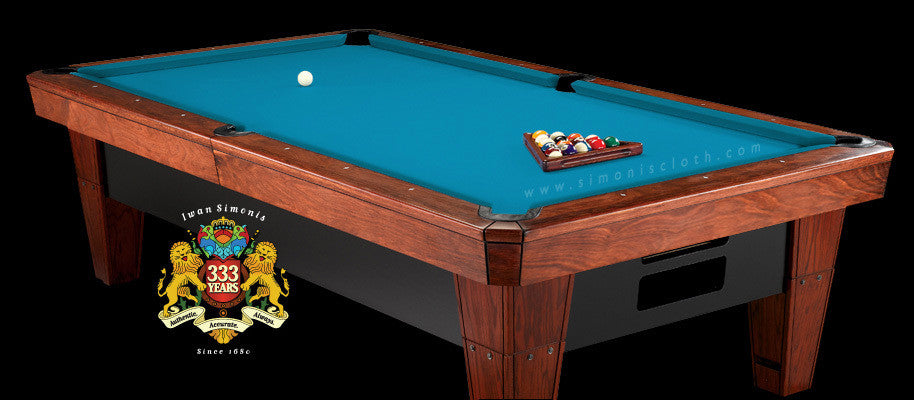 9' Simonis 860 Pool Table Cloth - Tournament Blue