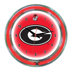 "Georgia Bulldogs 14"" Neon Clock"