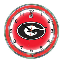 "Georgia Bulldogs 18"" Neon Clock"