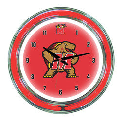 "Maryland Terrapins 14"" Neon Clock"