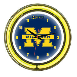 "Michigan Wolverines 14"" Neon Clock"