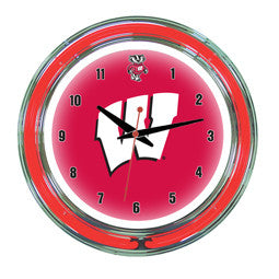 "Wisconsin Badgers 14"" Neon Clock"